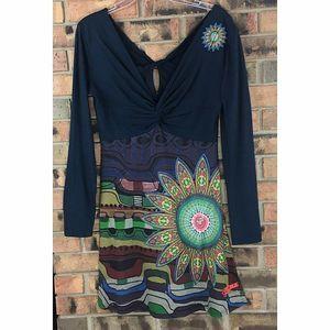 Desigual Medium Dress Black Embroidered Bling BoHo